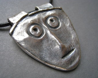 Mississippian Face Oxidized Fine Silver Pendant -Face Pendant - Archaeology