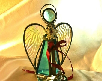 Stained Glass Standing Angel Ornament Figurine Spiritual Christmas Gift