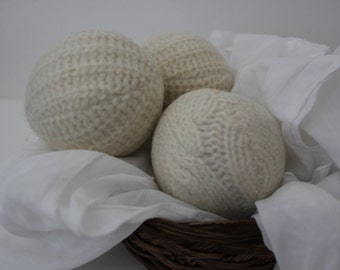 Wool Dryer Balls, Set of 3 from Repurposed  Sweaters in  Cable Ivory