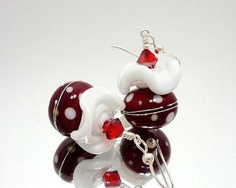 Red and White Earrings, Ruffle Earrings, Christmas Earrings, Lampwork Earrings, Beadwork Earrings, Holiday Earrings, Polka Dot Earrings