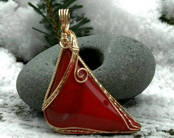 Red Glass Cardinal Pendant wrapped in 14K gold fill