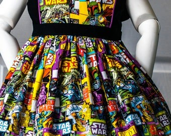 Vintage inspired Star Wars Comic Book Disney girls dress, size 6m, 12m, 2t, 3t, 4t, 5t, 6, 8, 10, 12