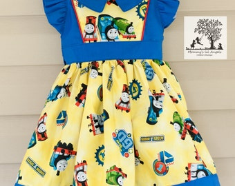 Vintage inspired Thomas the Train girls dress, size 6m, 12m, 2t, 3t, 4t, 5t, 6, 8, 10, 12