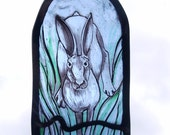 FREE UK POSTAGE Tradtional Painted stained Glass Hanging Panel Charging Hare, Suncatcher, home decor