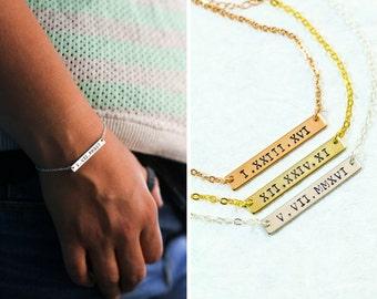 Roman Numeral Bracelet - Numeral Bar - Gold Date Bracelet - Silver Date - Gold Roman - Rose Gold Numeral - Anniversary Date - Wedding Date