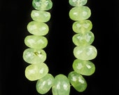 ON SALE Prehnite Rondelles Faceted Beads Rondels Yellow Green Lime Green Mined Beads - 8 to 17.4mm - 3 or 6 Inch Strand - 10 to 20 Beads