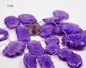 ON SALE Purple Solar Quartz Stalactite Coins Slices Grape Purple Lavender Cave Mined - 5 Piece Symmetrical Layout - 20 x 15 to 30 x 25mm