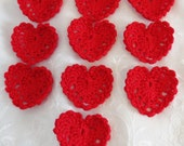 Crocheted Red Cotton Heart Embellishments for Craft Projects Ten