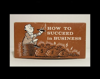 Mid century How to Succeed in Business ~ tycoon gag gift ~ 1960s 1970s Mad Men office money cash box ~ Made in Taiwan