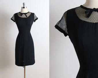 Vintage 50s Dress | Fashion Frock 1950s dress | caged sleeves xs/s | 5723