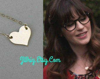 Zooey Deschanel Gold Heart Necklace, 14K Gold Fill, Sterling Silver, Celbrity Jewerly, Centered Heart, Heart Of Gold