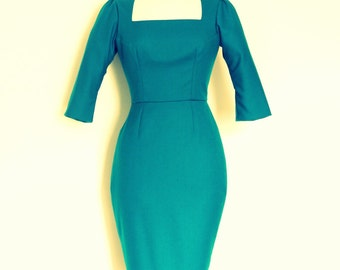 Peacock Blue 100% Wool Pencil Dress with Square Panelled Bodice - Made by Dig For Victory