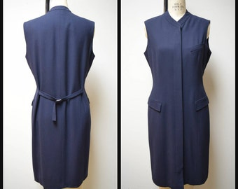Vintage CALVIN KLEIN COLLECTION Navy Blue Knee Length Vest Jumper Coat Dress Size M