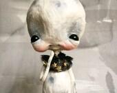 One of a Kind Spun Cotton Moon Art Doll