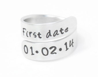 Customized first date ring - Couple ring - anniversary gift -  Girlfriend or boyfriend gift anniversary ring