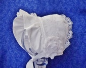 Custom for Carrie White Corduroy Baby Bonnet with Lace and Lined with Fleece