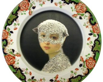 """SALE - Mary Was a Little Lamb - Altered Vintage Plate 9.3"""""""