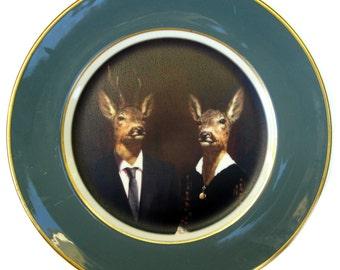 """SALE - Imperfect - Uncle Buck and Aunt Doe Portrait Plate 8.5"""""""