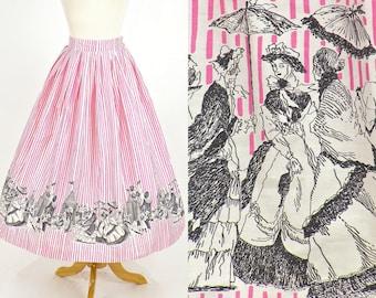 50s Novelty Skirt, 1950s Skirt, Striped Victorian Carnival Novelty Print Cotton Skirt, Border Print Skirt, XS