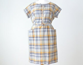 50s Plus Size Dress, 1950s Day Dress, Vintage Women's Plaid Dress and Belt Size 22