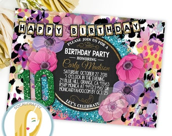 Glitter Birthday Party Invitation, Leopard Print, Animal Print, Hot Pink Teal Purple, DIY, Printed or Printable Invitations, Free Shipping