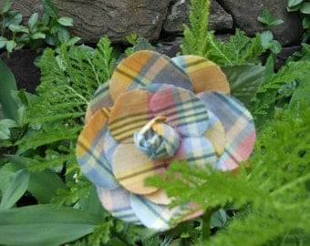 Vintage millinery/hat flower pin - madras plaid