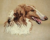 Rough Collie Profile Preworked Needlepoint Canvas