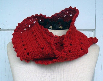 Brick Red Crochet Scarf for Her, Hand Crocheted Red Scarf