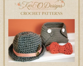 Fedora, Bow Tie and Diaper Cover Crochet Patterns