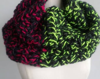 bright chunky scarf /neon  cowl pullover / Electric watermelon   chunky brght neckwarmer  from the {twisted Sister} collection
