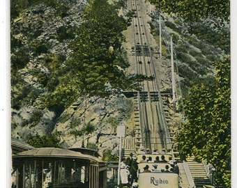 Incline Railroad Streetcar Mt Lowe Los Angeles California 1908 postcard