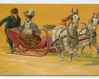 Winter Snow Horse Sleigh Ride 1908 postcard