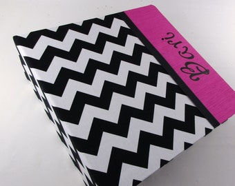 Baby Book, modern Girl Baby memory Book personalized- Black Chevron with Hot Pink  Fuchsia