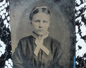RESERVED for SHARON - Tintype - Pretty Young Girl w/ Hair Ribbon