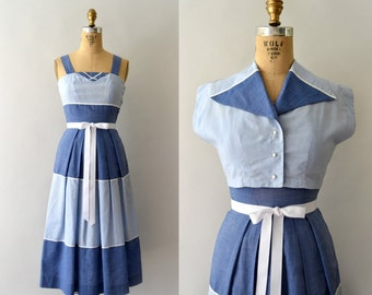 1950s Vintage Dress Set - 50s Nautical Blue Cotton Sundress & Bolero