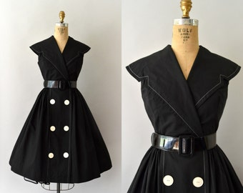 1950s Vintage Dress - 50s Black Cotton Sundress