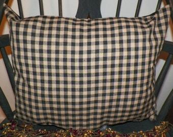 "UNSTUFFED Primitive Pillow Cover 18 x 14"" Country Home Decor Decoration Black and Tan Checked Homespun Toss Throw Rectangular wvluckygirl"