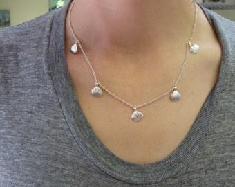 5 Ruffled Sedum Leaves Necklace -- Botanical Jewelry -- Nature Cast