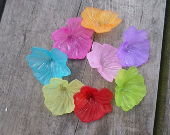 Lucite Flower Beads Mixed Colors 35mm X 14mm 16pcs (Item Number RO16M)