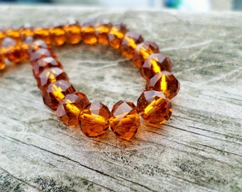 Tiaria Crystal Dark Amber Faceted Rondelle Beads 6x4mm