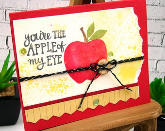 Apple of My Eye Teacher or Student Handmade Card