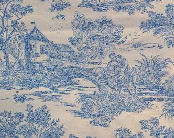 Blue toile home decor fabric