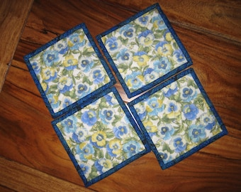 Quilted Fabric Coasters, Blue and Yellow Pansies, Coffee Drink Coasters, Pansy Mug Rugs, French Country Blue Yellow Coasters Handmade