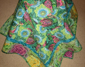 Lap Quilt, Baby Quilt, Amy Butler Hapi and Glow Pink, Purple, Blue and Green, Flowers and Paisley, Toddler quilt, Sofa Throw, Handmade Quilt