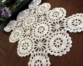 Wagon Wheel Crochet, Doily, Placemat or Centerpiece in White, Hand Made 13361