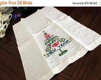 Happy New Year Towel, Festive Linen, Embroidered Christmas Fingertip Towel 13478