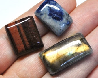 Grooved Rectangle Cabochons Mix, Semi Precious Natural Gemstones, Macrame Supply - 3 pcs Parcel - 18.4-26.5 mm - 64.7 ct - 161005-10