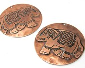 2 pieces  -Elephant design thin copper discs charms - MG028