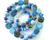 Shades of Blue and Bronze Coloured Beaded Necklace, Statement Necklace, Kazuri Bead Necklace, Fair Trade