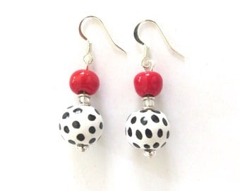 Kazuri Earrings, Black and White Earrings with a Dash of Red